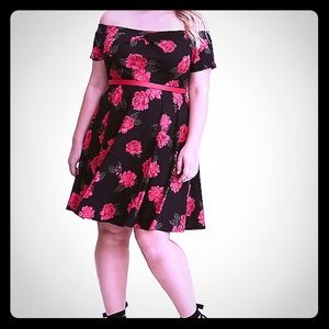Red rose fit and flare dress